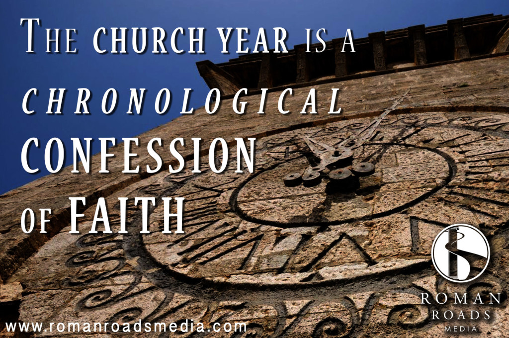 """THE CHURCH YEAR IS, SO TO SPEAK, A CHRONOLOGICAL CONFESSION OF FAITH; a moving panorama of the great events of salvation; a dramatic exhibition of the gospel for the Christian people. It secures to every important article of faith its place in the cultus of the church, and conduces to wholeness and soundness of Christian doctrine, as against all unbalanced and erratic ideas. It serves to interweave religion with the, life of the people by continually recalling to the popular mind the most important events upon which our salvation rests, and by connecting them with the vicissitudes of the natural and the civil year."" - Philip Schaff"