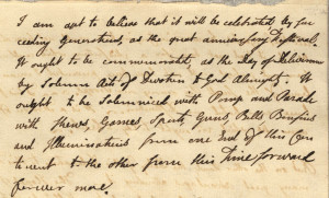 Part of the original letter of John Adams to his wife Abigail, talking about celebrating Independence.