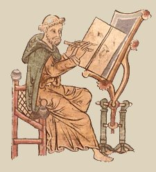 Monk copying a manuscript