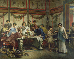 """A Roman Feast,"" oil on canvas by Roberto Bompiani. Late 1800s."