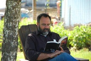 Wes Callihan reading John of Damascus during Hill Abbey
