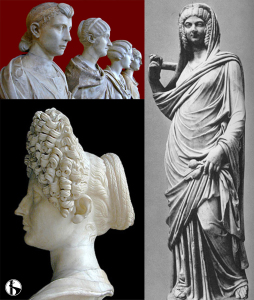 Various imperial hairstyles, with Empress Iulia Domna at the bottom