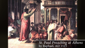 The Apostle Paul preaching at Athens to a Greco-Roman audience.