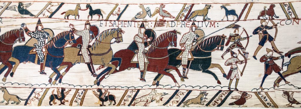 Battle of Hastings. Norman Knights and archers, by Bayeux