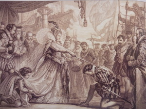 Francis Drake being knighted by Elisabeth the I