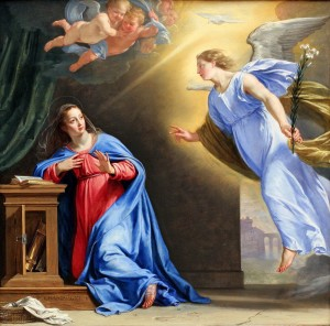 The angel announces to Mary that she is with child. Philippe de Chapaigne, 1644.