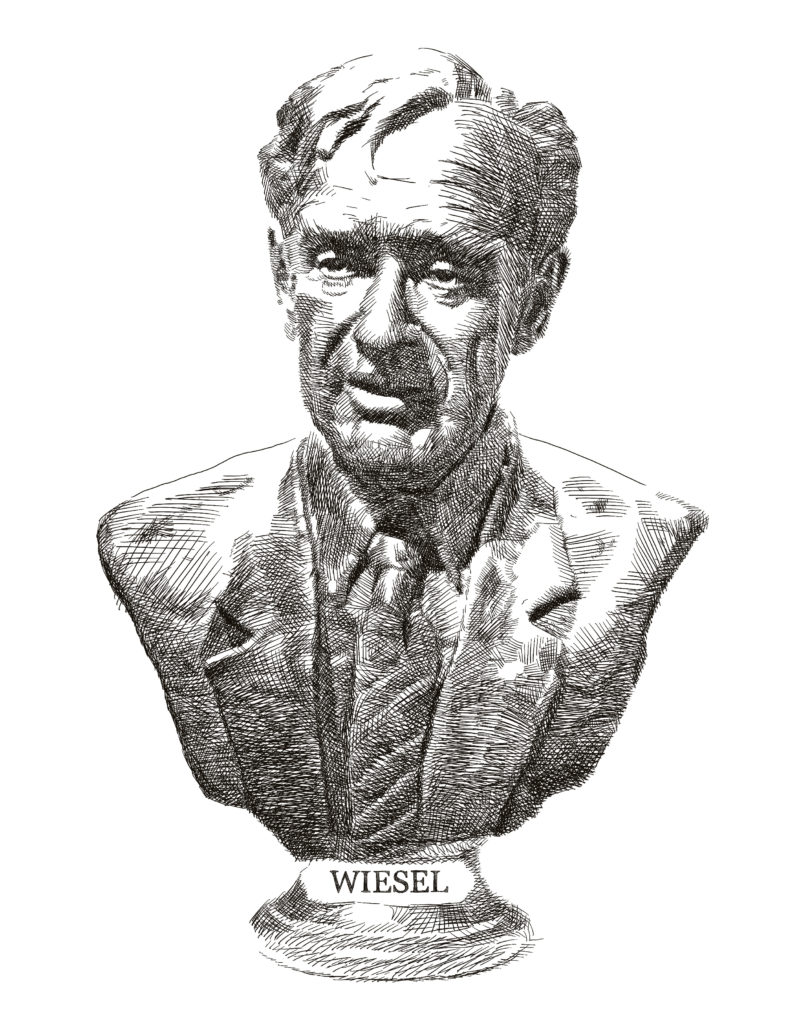 """Elie Wiesel (1928–). Wiesel is a professor, author, political activist, and Holocaust survivor. He has received numerous awards, including the Nobel Peace Prize. Wiesel has delivered speeches before several U.S. presidents. """"I learned the perils of language and those of silence.""""—Speech to Ronald Reagan objecting to his visit to a German cemetery, 1985"""